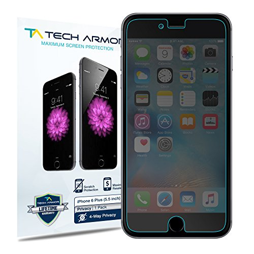 iPhone 6 Plus Privacy Screen Protector, Tech Armor 4Way 360 Privacy Apple iPhone 6S / iPhone 6 Plus (5.5-inch) Film Screen Protector [1-Pack]