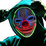 2SupMask Halloween Scary Led Mask, Light Up Evil Clown Purge Masks Changeable Party for Frightening Festival Cosplay Costume Night Glow El Parties Decoration White