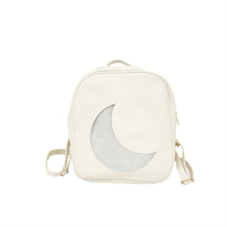 Sun Glower Mochila Regalo Trend Moon Shape Mochila Linda Personalidad Mochila pequeña Mochila (Blanco)
