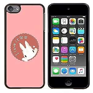For Apple iPod Touch 6 6th Generation - Funny Easter Valentines Bunny Rabbit /Modelo de la piel protectora de la cubierta del caso/ - Super Marley Shop -