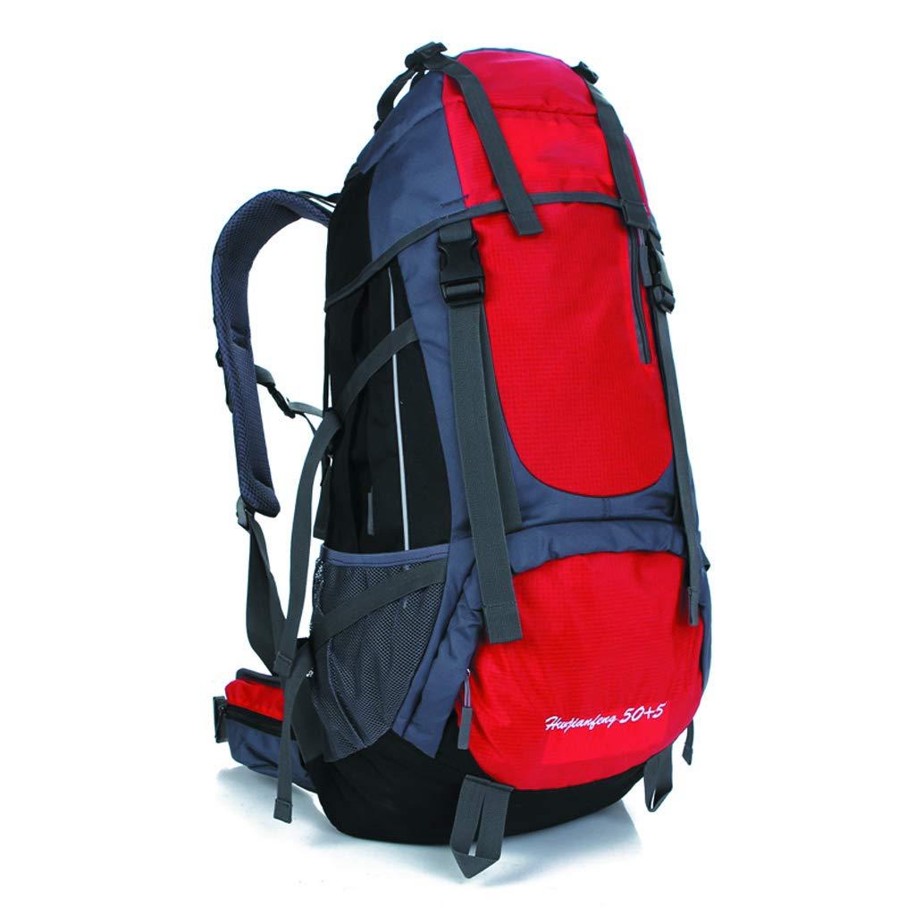 XY&CF- Hiking Backpacks Camping Rucksack Outdoor Bergsteigenbeutel 50 + 5L Männer und Frauen Reisen Wanderrucksack (gelb)