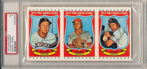 1973 Kellogg's Rare Full Panel AL KALINE, LARRY DIERKER, RON SANTO Excellent PSA 5 Detroit Tigers, Houston Astros, Chicago Cubs Slabbed Pro Super Stars