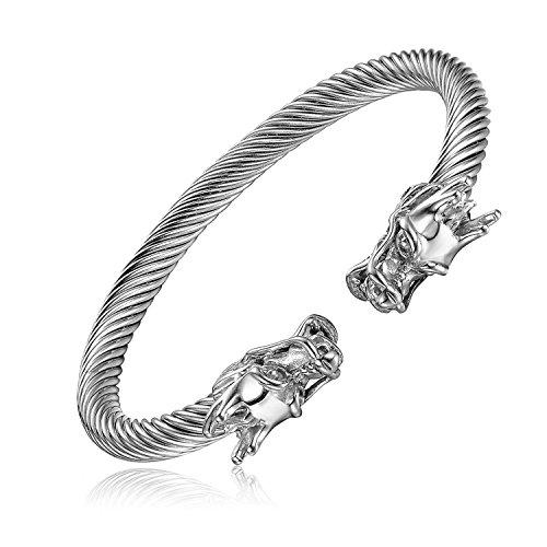 Polished Elastic Adjustable Mens Dragon Bracelet Steel Twisted Cable Bangle Cuff Bracelet Silver/Gold Color (Silver) (Sterling Silver Dragon Bracelet)