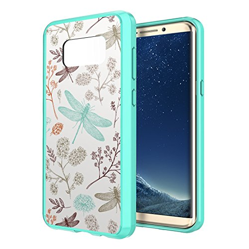 Galaxy S8 Plus Case, Capsule-Case Hybrid Hard Back Shield Case with Fused TPU Edge Bumper (Teal Green) for Samsung Galaxy S8 Plus (S8+) SM-G955 SPHG955 - (Dragonfly)