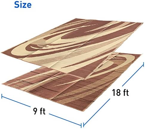 EasyGoProducts EGP-RVM-007-1 9×18 Camping Outdoor Patio Reversible RV Mat Carrying Strap 9 x 18 Brown