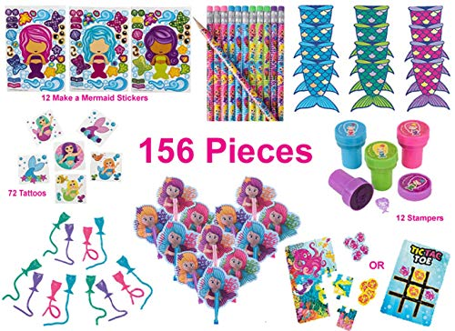 Mermaid Party Favors, Birthday Pack for 12 Kids - 156 Pieces - Novelty Toys - Notebooks, Pencils, Stampers, Make a Mermaid Stickers, Folding Fans, Sticky Tails, 12-Piece Sea Life Puzzles/Tic-Tac-Toe Game, 72 Tattoos]()