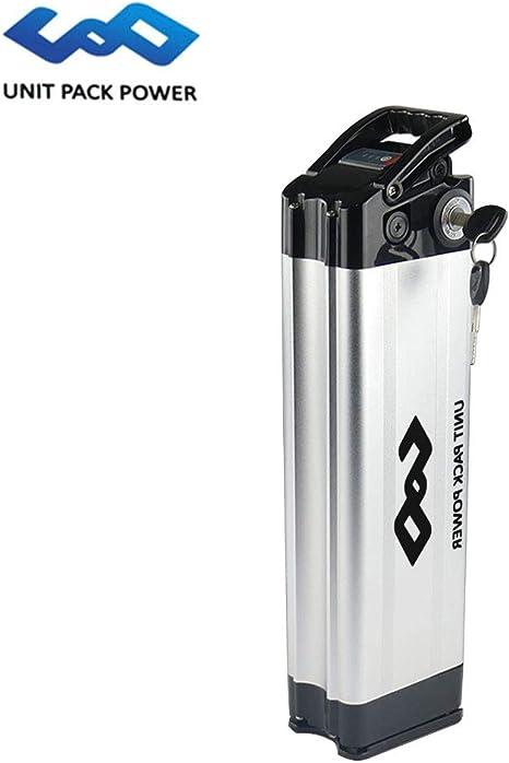 uppcycle Batería de Litio de Bicicleta eléctrica, batería de Pescado de la Astilla de 24V 20AH + Cargador de 25.2V 2A, Motor de 24V 250W en Forma (24V 20AH-Sliver): Amazon.es: Deportes y