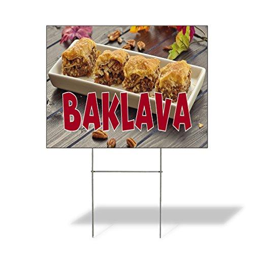 Plastic Weatherproof Yard Sign Baklava Bakery Baklava Yellow for Sale Sign One Side 18inx12in