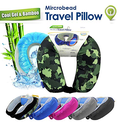 Cloudz Microbead Cool Gel & Bamboo Travel Neck Pillow - Camouflage