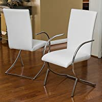 Best Selling Lydia Leather and Chrome Chair, White, Set of 2