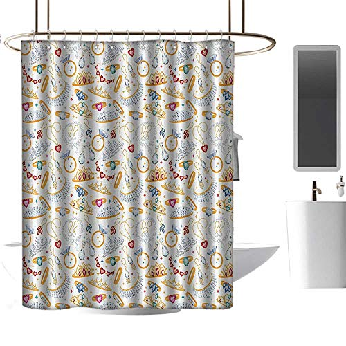 (Shower Curtains for Bathroom Lavender Pearls Decor Collection,Pattern with Jewelry Accessories Diamond Rings Tiara Earring Necklace Stones Image,White Yellow,W48 x L84,Shower Curtain for Shower sta )