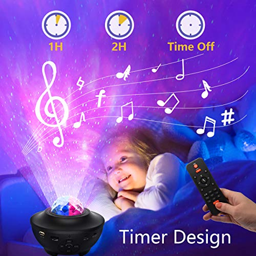 HSicily Star Light Laser Projector Star Galaxy Projector Light Bluetooth Speaker with Remote Control Timer Sky Night Light LED Nebula Cloud for Baby Bedroom Kids Game Room Party Disco Wedding