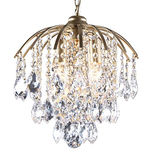 LCTCXD Four-Head E27 King Size Living Room , K9 Modern Style Pendant Crystal, fine Ceiling for The Hallway, Living Room, Bedroom and Dining Room (Color : Gold, Size : 3535CM)