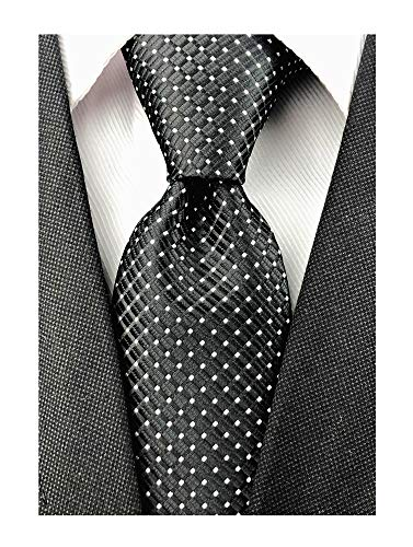 Mens Black Silk Ties Micro Checkered Wedding Party Suit Microfiber Handmade Neckties