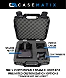 Casematix Hard Case Compatible with Oculus Quest VR Gaming Headset Accessories - All-In-One Oculus Quest Case Storage with Customizable Foam Interior for Impact Protection - Fits 128GB and 64GB Models