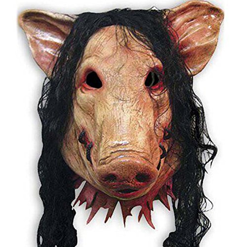 HAOSUN Halloween Saw Mask Horrible Mask Pig Face Mask Masquerade Costume Latex Mask]()