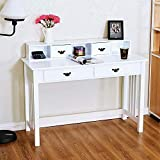 Trustiwood Writing Desk Home Office Computer Table with 4 Drawer Makeup Vanity Table Home Mission Desk Console Table with Removable Organizers (White)