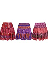 Wholesale Lot Womens Gypsy Sexy Skirt colorful Recycled Silk Full Flared Printed Short Skirts