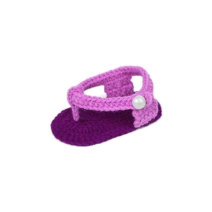 Zapatos Bebé niña primeros pasos ❤ Amlaiworld Zapatos rosas de verano para bebés Cuna Crochet