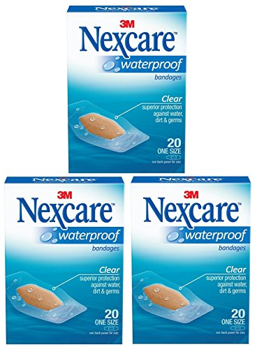(Nexcare Waterproof Clear Bandage, One Size, 20 Count Package (Pack of 3))