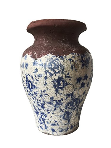 Vintage Old World Blue and White Ceramic vase. Ancient Asian Reproduction of a Classic Storage Vessel. Highly Stressed Painted and Natural Combined Finish