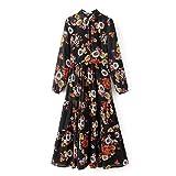 Sypdress Black Chiffon Dress Shirt Lapel Long Floral Skirt Backing,M
