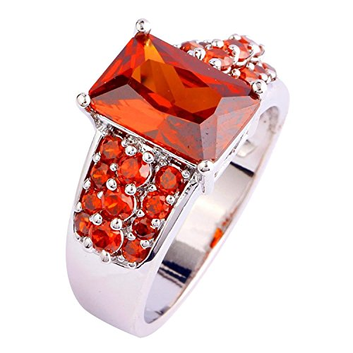 Veunora Jewelry 925 Sterling Silver Plated Exquisite Princess Cut Garnet Ring for Women Size 8