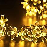 Deckey Flower LED String Light 100 LED Outdoor Solar Powered 54.8FT Decorative Blossom Fairy Lighting Christmas Flashing Lights for Xmas Tree Patio Gardens House Yard (Warm White)