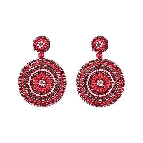 Round Beaded Dangle Drop Earrings Bohemian Handmade Seed Bead Statement Earring Studs Gift for Women Girls