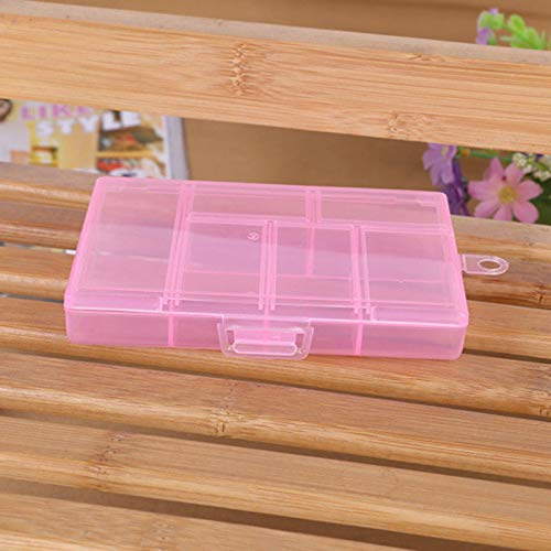 Box Organizer with 6 Grids Dividers,Portable Storage Container for Jewelry,Bead Storage, Fishing Tackle, Jewelry, Screws (Pink)