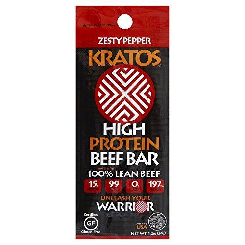 Kratos Protein Beef Bar, Zesty Pepper, 12 Count by Kratos Foods