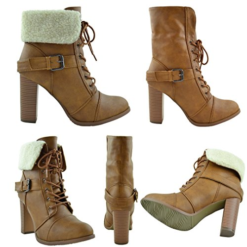Heel Lace Chunky Tan Cuff Up Tan Fleece Womens Over Boots Ankle Fold 1XqTwwZOx