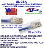 SuperEcable Made in USA – 80 Ft - STP Cat6a Ethernet Patch Cable – 23 AWG – UL CMR- BLUE