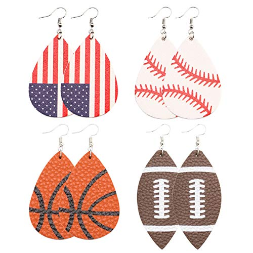 Baseball Leather Earrings for Women Lightweight Faux Leather Earrings Teardrop Ball Leather Dangle Earrings 4 Pairs