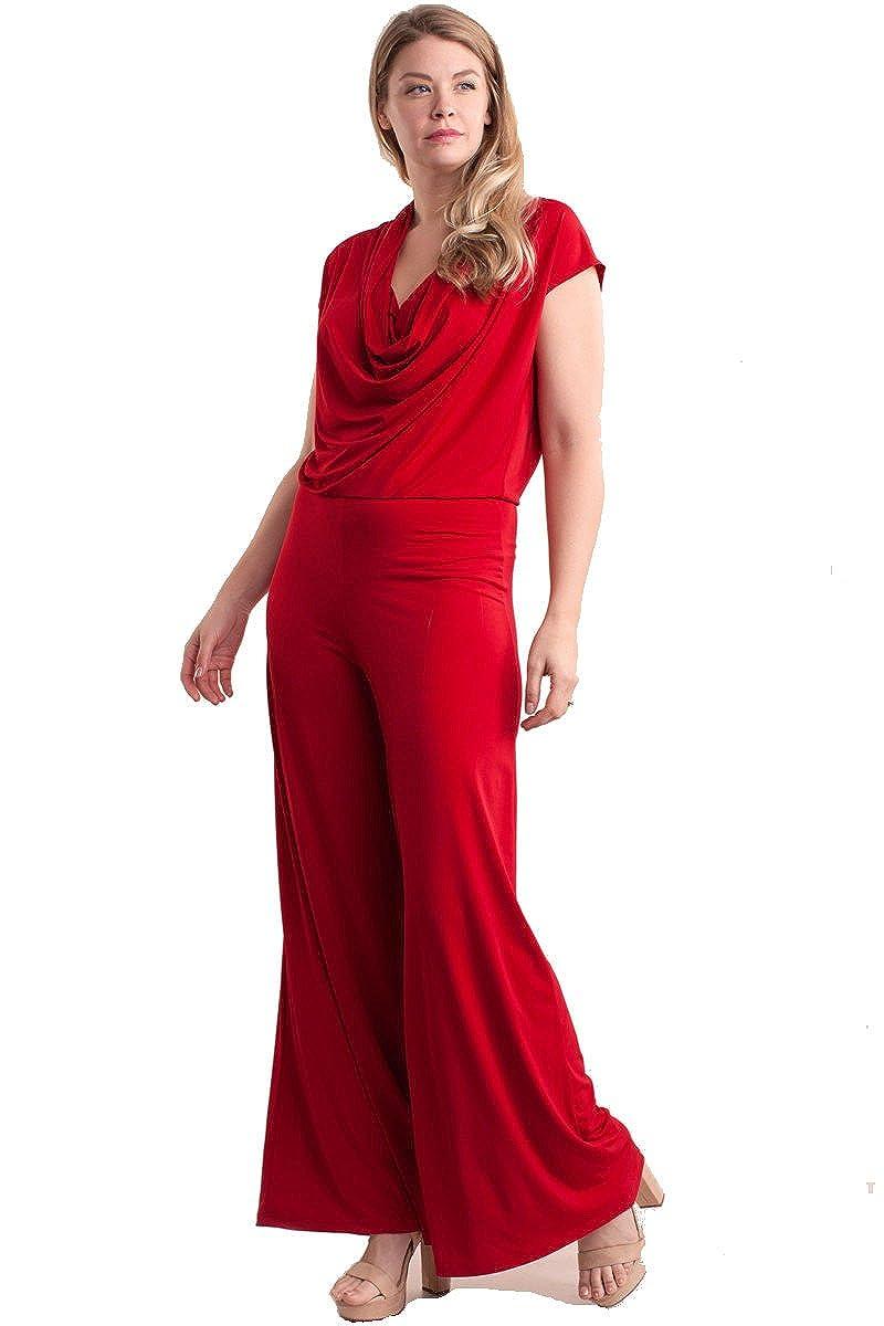 54a651f0bece Amazon.com  Nyteez Women s Plus Size Cowl Neck Wide Leg Jumpsuit  Clothing