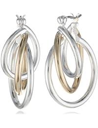 """Napier Classics"" Two-Tone Twisted Hoop Earrings"