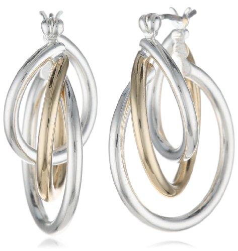2 Tone Hoop Earrings - 5