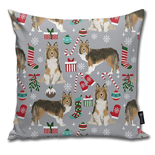 shirt home Sheltie Christmas Xmas Holiday Shetland Sheepdog Design -Grey Comfortable Soft Bed Pillow Case Household Pillow Case Office Bolster 18x18 Inches (Bed Bath Table Teepee And)