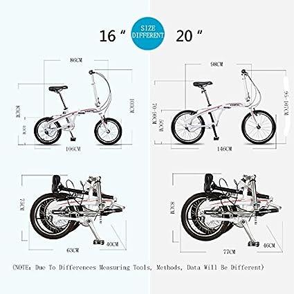 SF325 16 pulgadas de 3 velocidades de alta precisión del eje de transmisión sin cadena de bicicleta de carretera, bicicleta plegable rápida para hombres y ...