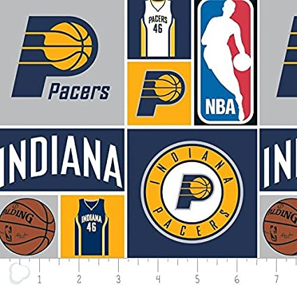 the best attitude 10875 6a77e Cotton Indiana Pacers NBA Basketball Sports Team Squares Cotton Fabric  Print by the Yard