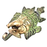 IndianShelf Set of 4 Handcrafted Artistic Bronze Brass Ganesha Face Vintage holders hooks hangers Wall Coats Towels Keys Clothes Hats Bathroom Kitchen Mounted Vintage Utility Classic Solid