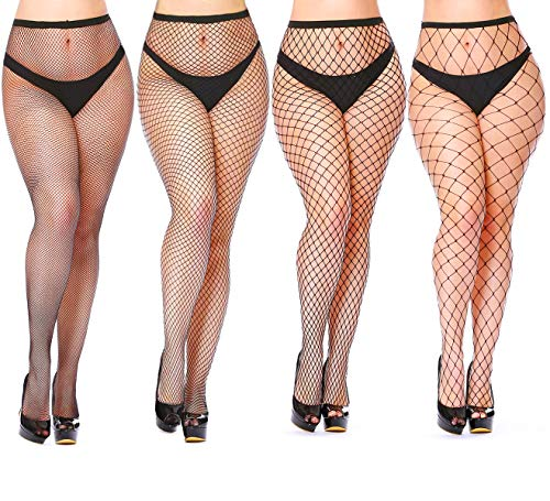 Womem's Sexy Black Fishnet Tights Plus Size Net Pantyhose Stockings (4 Pairs Fishnet Tights, plus - Medium Fishnet
