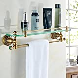 YUTU LB01 Antique Brass Bronze Cosmetic Shelf with Towel Bar Bathroom Blue Jade Elliptical Glass Holder Rack (Style A)