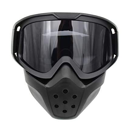047d44e88f8 Amazon.com  Motorcycle Goggles Mask Detachable Wear Over Rx Glasses Helmet  Sunglasses (Model 1