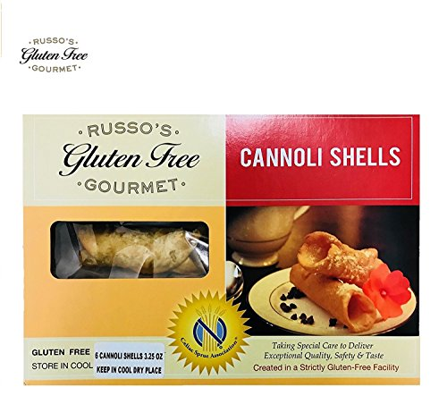 Russo's Gluten Free Cannoli shells - 3.5 Oz (6 Canoli shells) - 100% Gluten Free, Made in a strictly Glutenfree Facility