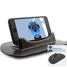 Alcatel One Touch Idol 2 Black Sticky (NO GLUE) Mat Anti-Slip In Car Dashboard Desk Table Vertical / Horizontal Holder