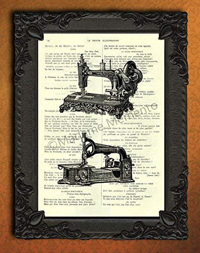 Sewing machines art print Antique sewing room decor book page Seamstress gift from Madame Memento