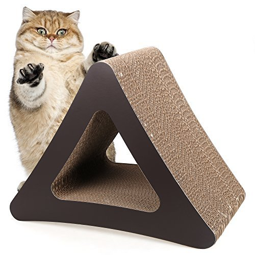 Homdox 3-Sided Cat Scratching Post Cat scratchers Vertical Corrugated Cardboard Cat Toy