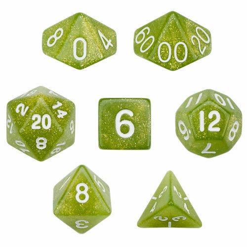 7 Die Polyhedral Dice Set - Serpent (Green Glitter) with Velvet Pouch By Wiz (Poly Set Green)