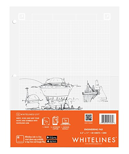 Case of 24 Whitelines App Engineering Computational Pads, 8.5''x11'', Grey Grid White Paper, 80 sheets, 3 Hole punch, Enclosed Grid printing by WhiteLines (Image #9)